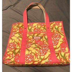 Chi omega Lilly Pulitzer pattern tote bag